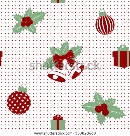 sample seamless Christmas pattern with decoration. vector illustration - stock vector