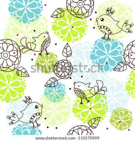 sample textures with flowers and birds