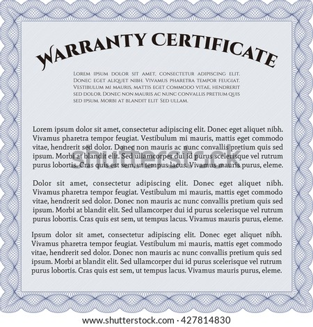 Sample Warranty. Artistry design. With complex linear background. Border, frame.