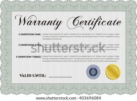 Sample Warranty. Beauty design. Border, frame. With linear background.