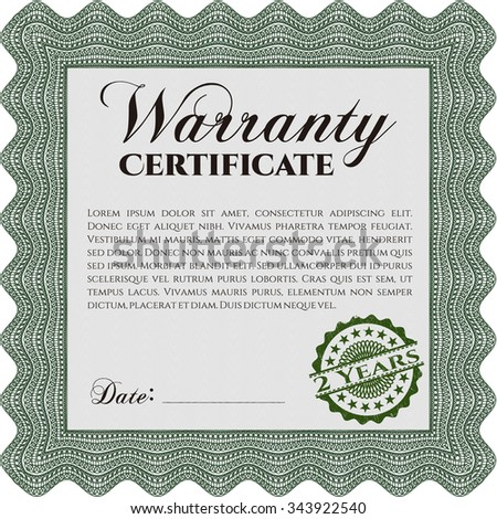 Vector Illustration Sample Warranty Certificate Template Stock