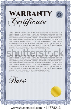 Sample warranty certificate template vector illustration stock sample warranty certificate template vector illustration with guilloche pattern and background elegant design yadclub Choice Image