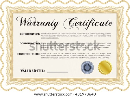 Sample Warranty certificate template. Vector illustration. With guilloche pattern and background. Elegant design.