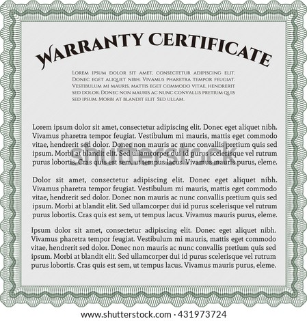 Template Warranty Certificate Border Frame Superior Stock Vector