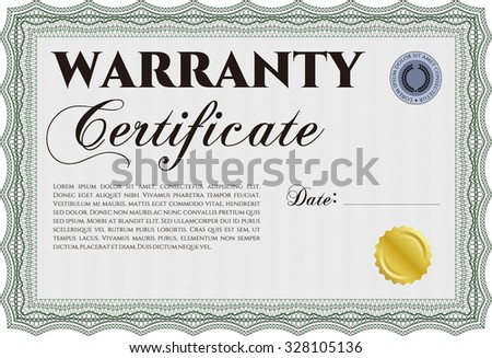 Sample Warranty Certificate Template Background Retro Stock Vector