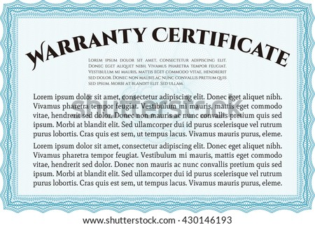 Sample Warranty certificate template. With guilloche pattern and background. Vector illustration. Elegant design.