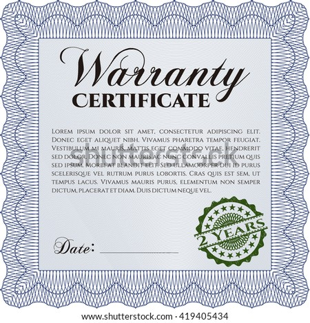 Sample Warranty Certificate Template Background Very Stock Vector