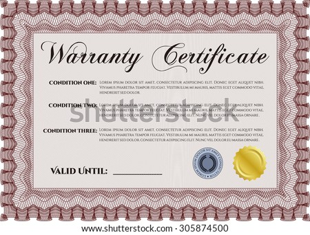 Warranty card stock images royalty free images vectors sample warranty certificate template with sample text perfect style complex frame yadclub Gallery