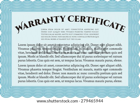 Warranty Template Warranty Certificate Stock Vector