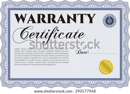 Template Warranty Certificate Easy Print Sample Stock Vector