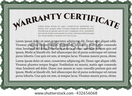 Sample Warranty certificate. With complex linear background. Vector illustration. Artistry design.