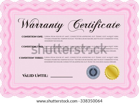 Sample Warranty template. Perfect style. With sample text. With background.