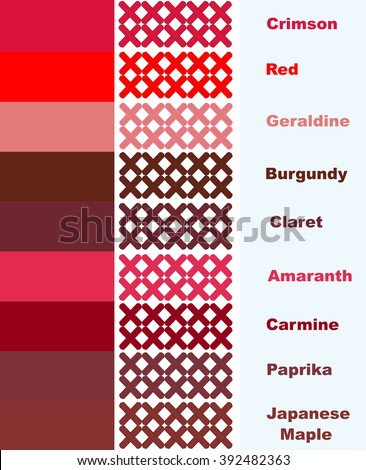 Samples Cross Stitch In Red Palette Of Colors With Names