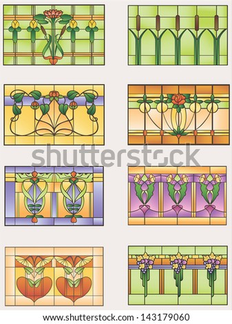 Samples stained glass window with flowers, fruit and vegetables - stock vector