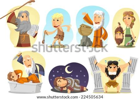Samson, Noe, Moises, Judith, David Joseph and Abraham. Vector illustration cartoon. - stock vector
