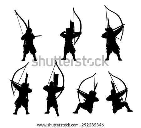 samuraiarchers silhouette set stock vector 292285346