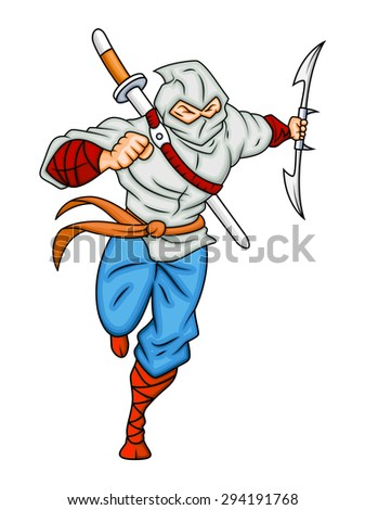 Samurai Cartoon Character - stock vector