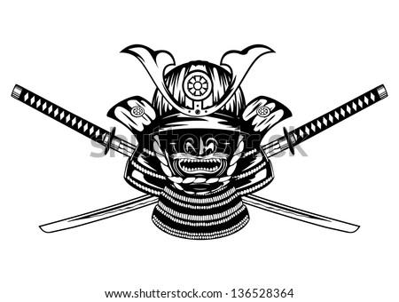 Samurai helmet , menpo with yodare-kake and crossed katanas - stock vector