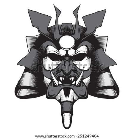 Samurai Mask - stock vector