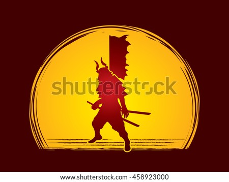 Samurai standing ready to fight designed on moonlight background graphic vector.