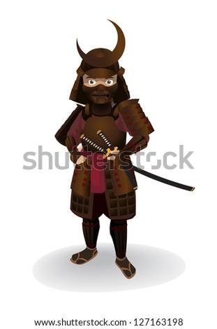 Samurai vector - stock vector