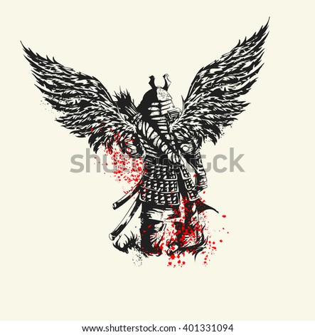 Samurai warrior is back in full military uniform with wings. Vector illustration
