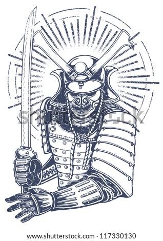 samurai warrior vector t shirt design - stock vector