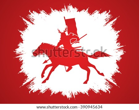 Samurai Warrior with Spear, Riding horse, designed on grunge frame background graphic vector. - stock vector