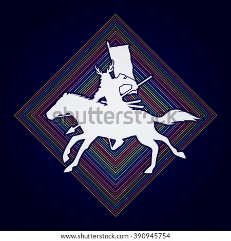 Samurai Warrior with Spear, Riding horse, designed on line square background graphic vector. - stock vector