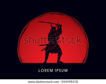 Samurai Warrior with sword, designed using grunge brush on sunset or sunrise background graphic vector.