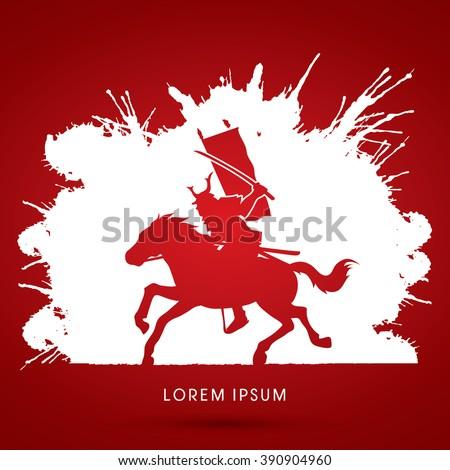 Samurai Warrior with Sword Katana, Riding horse, designed on grunge ink background graphic vector. - stock vector