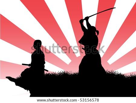 samurais' silhouette - stock vector