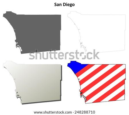 San Diego County (California) outline map set - stock vector