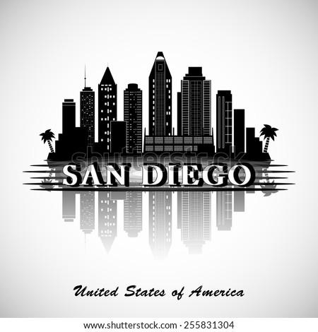 San Diego skyline. City silhouette - stock vector