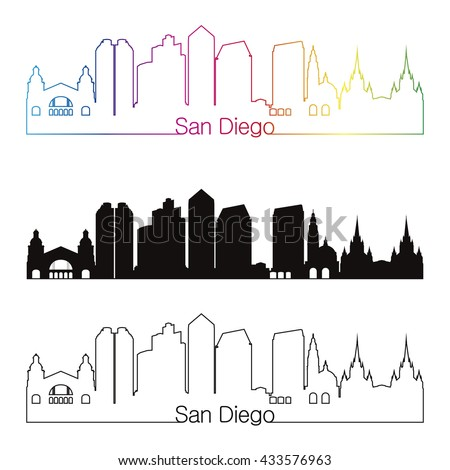 San Diego skyline linear style with rainbow in editable vector file