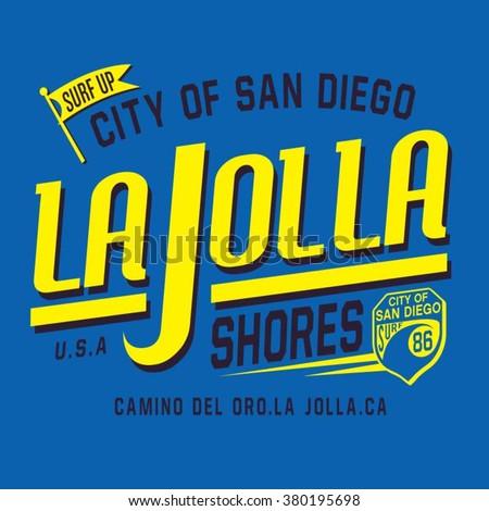 San Diego sport surf typography, t-shirt graphics, vectors - stock vector
