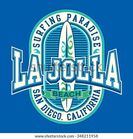 San Diego surf typography, t-shirt graphics, vectors - stock vector