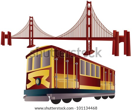 San Francisco Cable Car Trolley and Golden Gate Bridge Illustration - stock vector