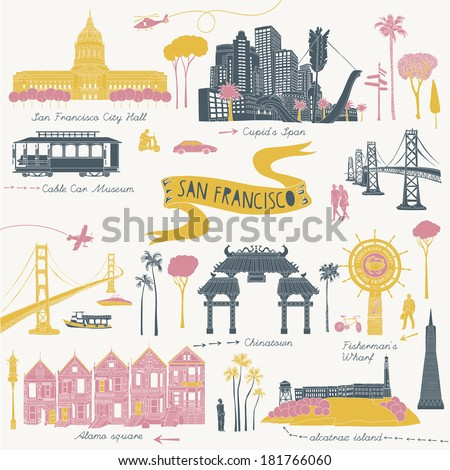 San Francisco California - stock vector