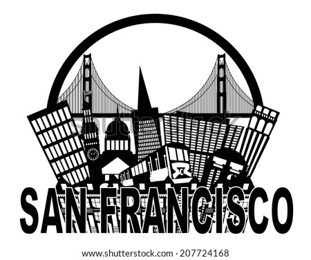San Francisco California Abstract Black and White Downtown City Skyline with Golden Gate Bridge and Cable Car Isolated on White Background Vector Illustration - stock vector