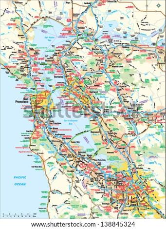 San Francisco, California area map - stock vector