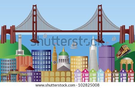 San Francisco California City Skyline with Golden Gate Bridge and Landmarks Panorama Illustration - stock vector