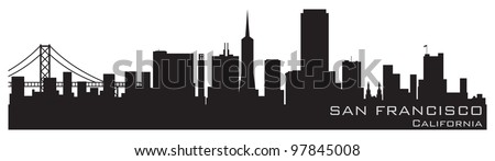 San Francisco, California skyline. Detailed vector silhouette - stock vector
