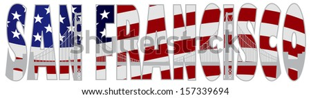 San Francisco California Text Outline Silhouette with Golden Gate Bridge with US American Flag Background Vector Illustration - stock vector