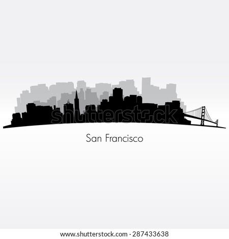 San Francisco city silhouette skyline . Vector illustration - stock vector