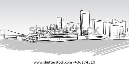 San Francisco Downtown greyscale Sketch, Hand-drawn Vector Artwork - stock vector
