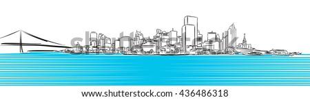 San Francisco Finance District Sketch, Hand-drawn Vector Artwork - stock vector