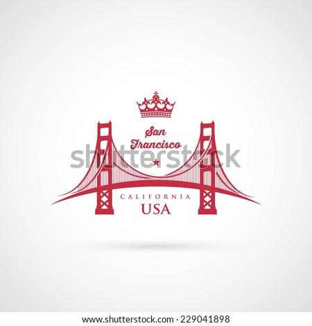 San Francisco Golden Gate bridge symbol - vector illustration - stock vector