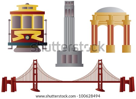 San Francisco Golden Gate Bridge Trolley Coit Tower and Palace of Fine Arts Illustration - stock vector