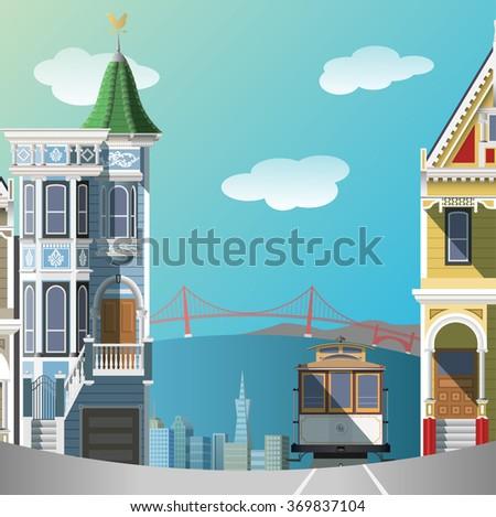 San Francisco landscape - stock vector